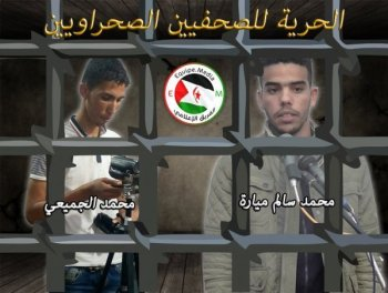 Equipe Media reclama en árabe la libertad de los dos detenidos.