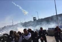 Delegados de la FIP en Ramala atacados con gases lacrimógenos cuando reclamaban libertad de expresión en la frontera con Israel