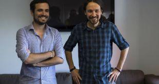 Alberto Garzón y Pablo Iglesias el 24 de junio de 2015