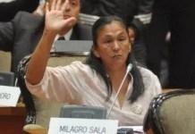 Milagro Sala en una votación parlamentaria