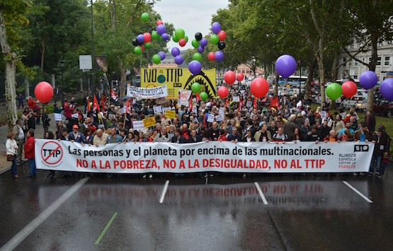 Manifestación en Madrid contra la pobreza y la desigualdad, y de rechazo al TTIP
