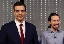 Pedro Sánchez junto a Pablo Iglesias en un debate electoral en diciembre de 2015