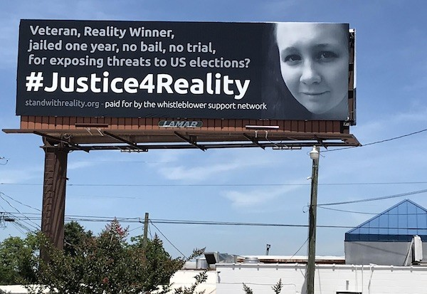 Campaña de apoyos desde Whistleblower Suppot Network a Reality Winner