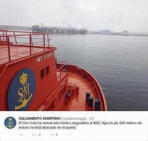 Información de Sasemar en twitter sobre el MSC Ajaccio
