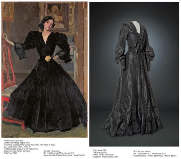 Clotilde con traje negro y traje negro 1900.