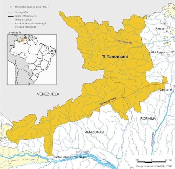 Territorio yanomami en la frontera entre Brasil y Venezuela
