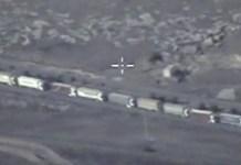 Imagen de la inteligencia rusa sobre el tráfico de camiones con contrabando entre Siria y Turquía