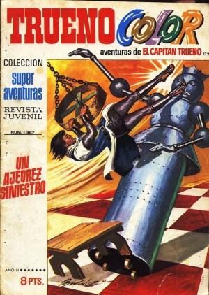 Portada de la aventura 'Un ajedrez siniestro' del Capitán Trueno.