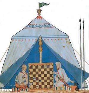 Grabado de una partida de ajedrez en una tienda musulmana en la Edad Media.