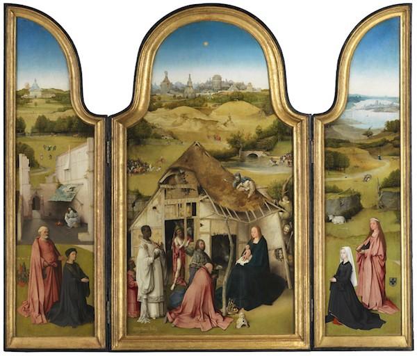 Tríptico de la Adoración de los Magos. El Bosco. Óleo sobre tabla, 133 x 71 cm (tabla central); 135 x 33 cm (tablas izquierda y derecha) h. 1494. Madrid, Museo Nacional del Prado