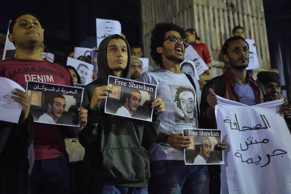 Concentración de solidaridad con Shawkan en El Cairo