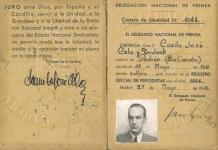 Carné de periodista de Camilo José Cela