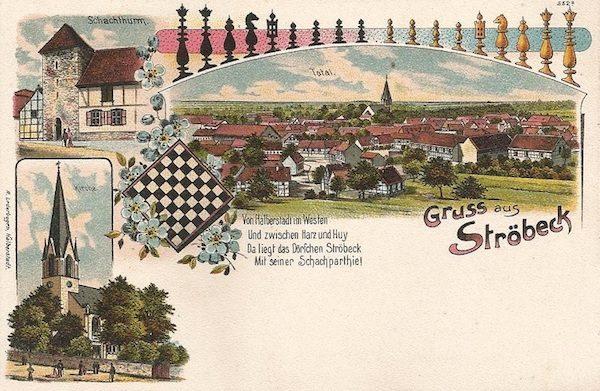 Postal histórica que recrea la relación del ajedrez con Ströbeck.