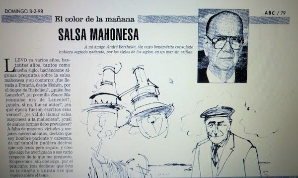 Salsa mahonesa, artículo de Camilo José Cela en ABC el 8 de febrero de 1998