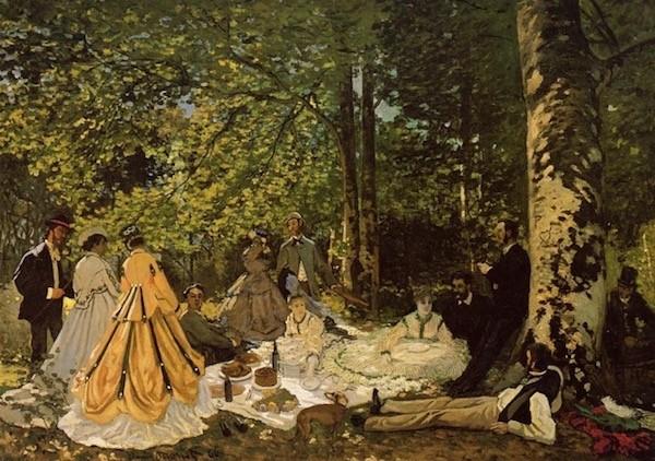 Claude Monet, Le Déjeuner sur l'herbe, 1866 Huile sur toile 130 × 181 cm Musée d'État des Beaux-Arts Pouchkine, Moscou Photo © Moscou, Musée d'État des Beaux-Arts Pouchkine