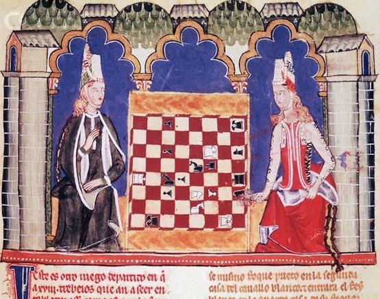 Grabado medieval de dos mujeres jugando al ajedrez. 1251-1282. Libro de juegos de Alfonso X, rey de España. Biblioteca Nacional. Foto: Gianni Dagli Orti/ Corbis.