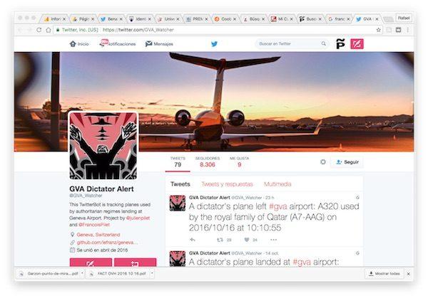 Bot de François Pilet para detectar los aviones de dictadores que aterrizan en Suiza