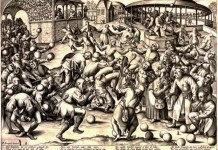 Fête des fous, gravure de Pieter Van der Heyden, en 1559, d'après Brueghel