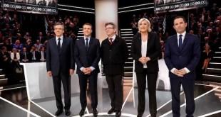 Fillon, Macron, Mélenchon, Le Pen y Hamon en el debate de candidatos del 20 de marzo de 2017 en TF1