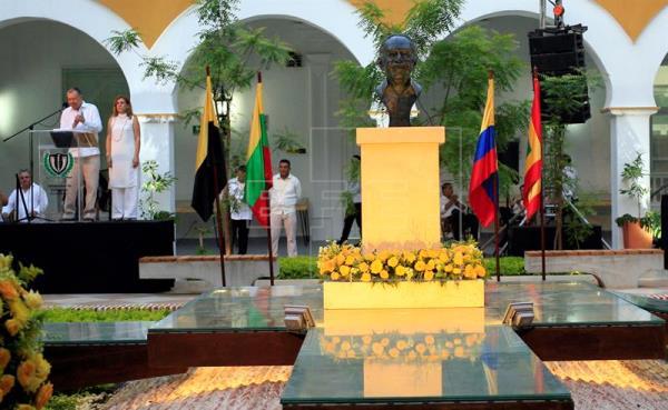 Memorial dedicado a Gabriel García Márquez en el Claustro de la Merced en Cartagena de Indias