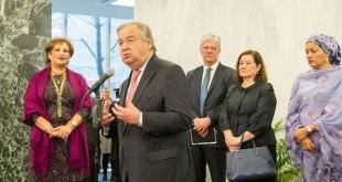 El nuevo Secretario General de la ONU, António Guterres, se dirige al personal de la ONU, el 3 de enero de 2017.