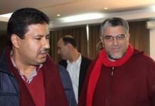 Abdelali Hamieddine, a la izquierda, junto al ministro de Derechos Humanos y antes de Justicia, Mustafa Ramid