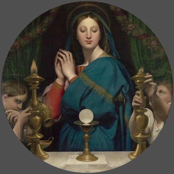 La Virgen adorando la Sagrada Forma. Jean-Auguste Dominique Ingres. Óleo sobre lienzo, 113 cm diem. 1854. París, Musée du Louvre (Depôt aux Musées d'Orsay et de l'Orangerie)