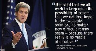 John Kerry en la rueda de prensa sobre las relaciones entre Israel y Palestina, el 28 de diciembre de 2016