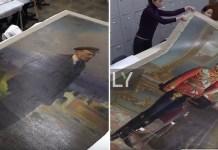 Los cuadros de Lenin y Nicolás II en un fotograba de un documental de Ruptly