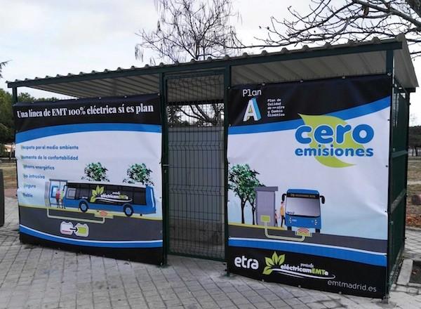 Madrid: marquesina de pasajeros para los autobuses cero emisiones