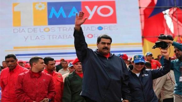 Nicolás Maduro en la manifestación obrera del 1 de Mayo en Caracas