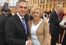 Miguel Angel Mancera y Manuela Carmena en la cumbre de alcaldes por el clima, DIC 2015