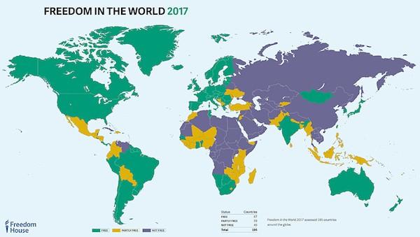 Mapa de la situación de la libertad en el mundo en 2017 según Freedom House.
