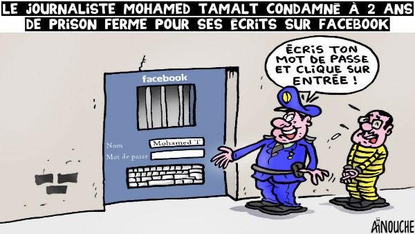Caricatura de Ghilas Ainouche publicada en la prensa argelina. El guardia dice al periodista, 'Escriba su nombre y clique para entrar'.
