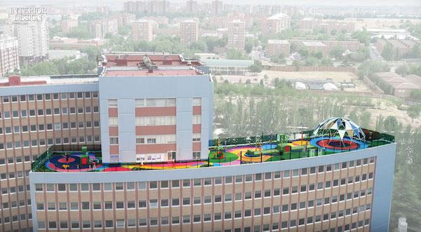 Moneo-Brock: terraza de juegaterapia en el hospital 12 de Octubre de Madrid
