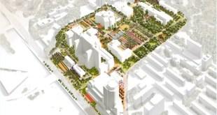 Conjunto de edificios en el campus. Proyecto de Moneo-Brock para Vall d'Hebron