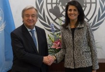 Guterres y Haley se saludan en la ONU