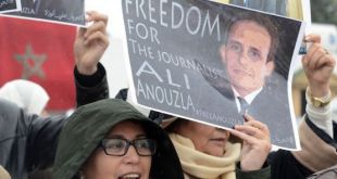 Protesta en Rabat en favor de la libertad del periodista marroquí Ali Anouzla