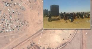 Imagen vía satélite y pantallazo que muestra la distribución de agua en la frontera entre Siria y Jordania. CNES 2016, Distribution AIRBUS DS. Screenshot from video obtained via the Tribal Council of Palmyra.