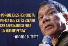 Rodrigo Duterte ha justificado el asesinato de periodistas en Filipinas