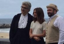 Win Wenders, Alicia Vikander y Ceiyn Jones en en l apertur de Zinemaldia 2017