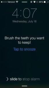 Reminder to brush teeth