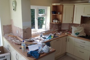 Kitchen with tiles removed