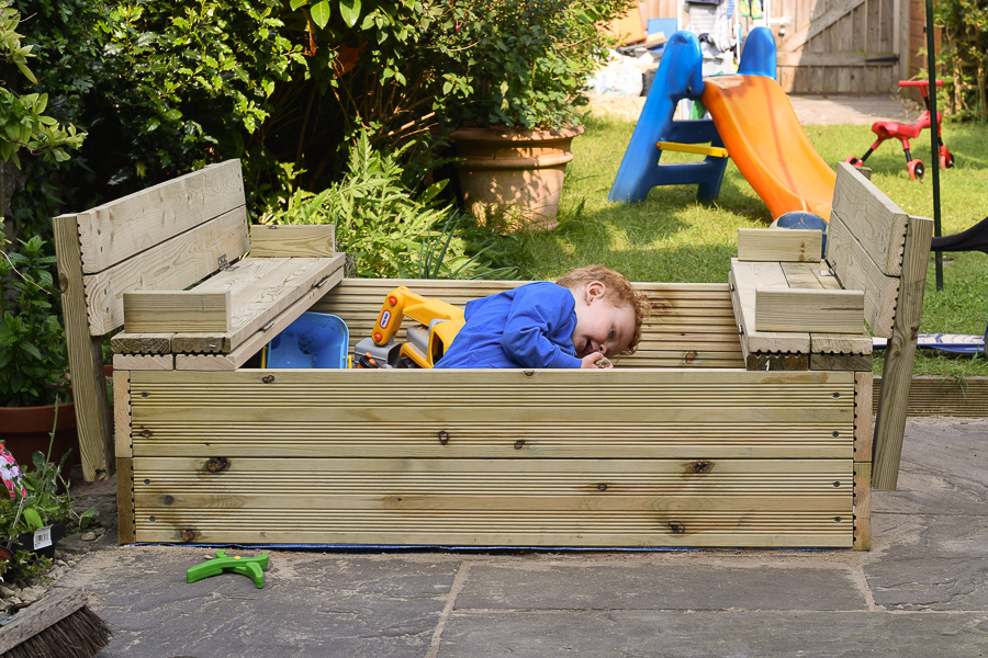 Sandpit Box with Benches