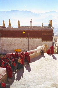 Monks headed to morning rituals in Lhasa.