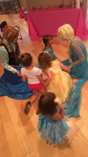 Anna and Elsa visiting a friend on her birthday!