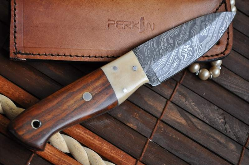 Custom Made Damascus Hunting Knife Burl Wood Amp Mammoth
