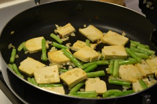 Brown the tofu a little