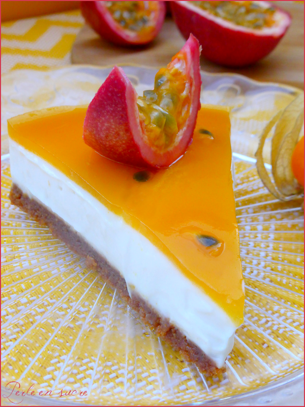 """Cheesecake"" aux fruits de la passion sans cuisson {vegan}"