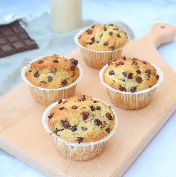 Muffins aux pépites de chocolat sans oeufs, sans lait {vegan}